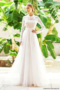 christos costarellos 2015 bridal br15 10 long sleeve lace wedding dress overlay skirt