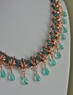 Bead Weaving and Copper Chainmaille with Blue by TheCopperAge
