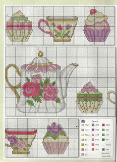 Cross Stitch Designs, Cross Stitch Patterns, Cross Stitching, Cross Stitch Embroidery, Cupcake Cross Stitch, Crochet Leg Warmers, Christmas Embroidery Patterns, Cross Stitch Kitchen, Le Point