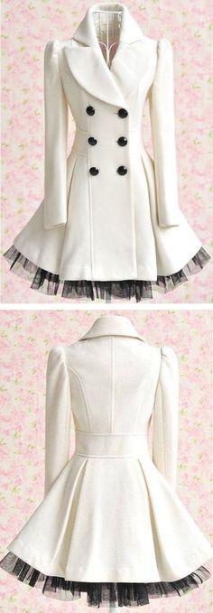 White Ruffled Tulle Coat ❤︎