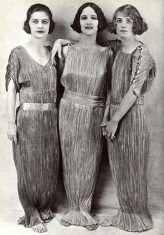 Three adoptive daughters of dancer Isadora Duncan in Fortuny Delphos gowns (from the Mariano Fortuny y Madrazo exhibit at New York's Spanish Institute)