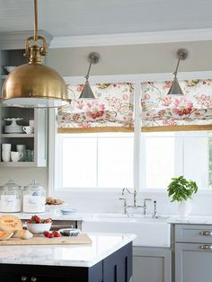 Bold pendant lights over the kitchen island; Soft florals in the kitchen; And mixed metals. From the kitchen of @Edie Wadsworth , design consultation by @darlene weir @ Fieldstone Hill Design