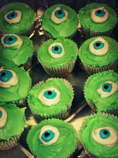 Mike Wazowski cupcakes we made for my nephew's monsters inc. birthday party
