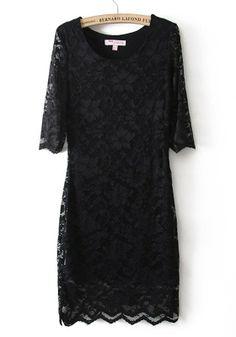 Black Plain Seven's Sleeve Short Wrap Lace Dress- Lovely variation to the little black dress!