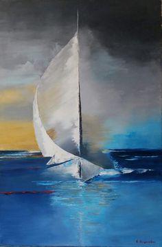 Sailboat Art, Sailboat Painting, Sailboat Drawing, Acrylic Art, Acrylic Painting Canvas, Canvas Art, Impressionist Art, Seascape Paintings, Painting Inspiration