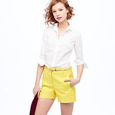 Boy shirt in classic white with a pop of yellow shorts