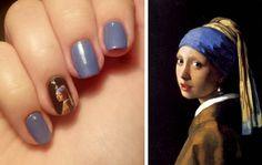 Nail art inspired by The Girl with the Pearl Earring Book Nail Art, Hearing Aids, Pretty Nails, Hair And Nails, Nail Art Designs, Pearl Earing, Finger, Make Up, Polish