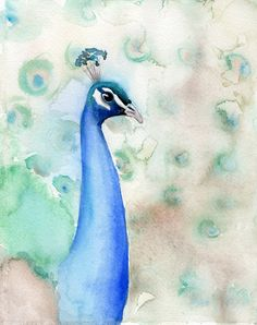 """""""Peacock No.3"""" Watercolor painting on Arches Watercolor Paper.  http://artbyheatherrose.tumblr.com/"""