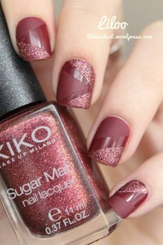 Manucure  trois textures : - base : Kiko n364 - matifiant - Kiko sugar mat n645