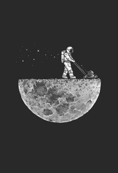 Mowing the moon | We Heart It | fiction, cool, and moon