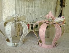 This is a photo of the 2 shabby crowns I just finished. Aren't they just lovely? Available soon at the Illusive Swan Foam Crafts, Diy Crafts, Craft Foam, Crown Centerpiece, Pink Crown, Little Girl Rooms, Tiaras And Crowns, Crown Jewels, Princess Party