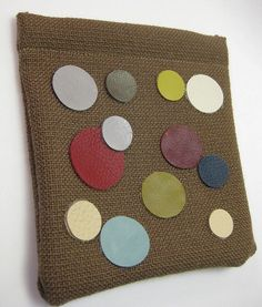 Pinch Pouch Case  Circles in Leather by SinceSass on Etsy