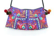Colorful Embroidered Bag Cross Body Style Pom Pom Strap Handmade Thailand
