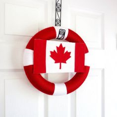 Celebrate Canada Day and drop in fun for children of all ages with these Canada Day Red and White Craft Ideas & activities that help you learn about the holiday. Flag Wreath, Patriotic Wreath, Diy Wreath, Miss Canada, Happy Canada Day, Canada 150, Canada Day Party, Cottage Party, Canada Day Fireworks