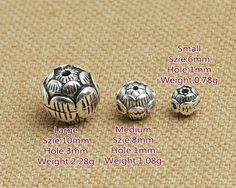 Bali Sterling Silver Spacer Beads Lotus Flower by fantasy369