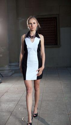 $148 Halter Collar Button Front Dress
