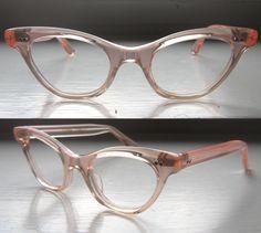 b6f34cc8c018 French 50 s Cat Eye Eyeglass Frames Salmon Pink Icy Eyeglasses Eyeglass  Frames