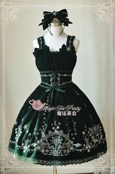 Magic Tea Party Velvet Winter's Lyrics Embroidery JSK Dress 92.99-Lolita Dresses - My Lolita Dress