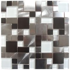 Stainless Steel Tile-Modern Cobble Stainless Steel With White Glass Tile edenmosaictile.com