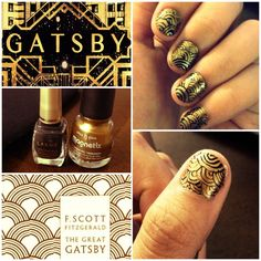 The Great Gatsby inspired nails #greatgatsby #movietime #gold #blackandyellow