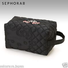 Hello Kitty x SEPHORA Black Cosmetic Bag Makeup Pouch Purse Japan FREE Shipping