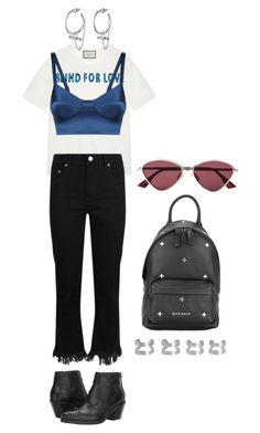 """""""Senza titolo #2620"""" by monsteryay ❤ liked on Polyvore featuring Gucci, Eddie Borgo, Maje, McQ by Alexander McQueen, Givenchy, Maison Margiela and Le Specs"""
