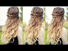 Beautiful Half Down Half Up Braided Hairstyle with curls| Half down hairstyles | Braidsandstyles12 - YouTube