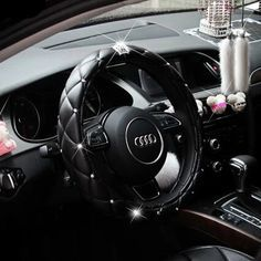 Car Universal PU Real Leather Cute Rhinestone Diamond Covered Steering-Wheel Cover Bling Black Steering Wheel Covers With Crown