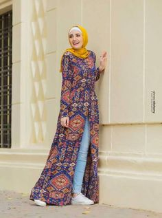 Open floral dress with jeans-Flowy and cute hijab outfits – Just Trendy Girls