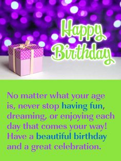 A Great Celebration - Happy Birthday Card: Send this dazzling birthday card to the person in your life that is celebrating their big day! It showcases awesome colors of purple and green, along with a spectacular sparkling background, and a special birthday gift box! It includes all the elements needed to wish someone a happy birthday in style!