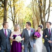 Like the grey suit with purple bridesmaid dresses and purple ties