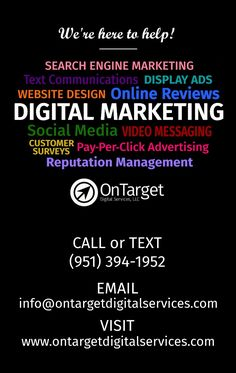 OnTarget Digital Services Home Pay Per Click Advertising, Digital Marketing Plan, Social Media Video, Display Ads, Customer Engagement, Online Reviews, Reputation Management, Search Engine Marketing, Promote Your Business