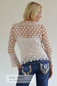 Crochet em circulação: Bege Cardigan. Concluído.
