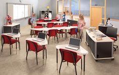 Get Smart with Hon's SmartLink Student Desks - Classroom Desk, Classroom Furniture, School Furniture, Library Furniture Design, Classroom Architecture, Desk Arrangements, Student Desks, System Furniture, Indoor Outdoor Furniture
