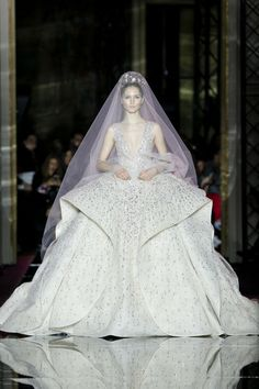 Bring on the drama in this full skirt bridal gown from Zuhair Murad on your big day.