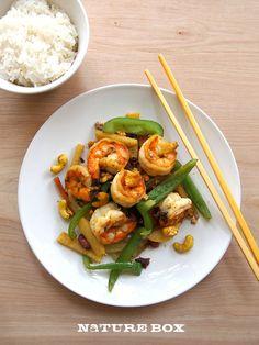 Yum! Shrimp stir-fry with NatureBox Bomba Curried Cashews!