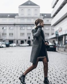 tights fishnet tights net tights coat grey coat sweater black sweater mini skirt silver skirt boots black boots ankle boots shoes blogger tumblr flat boots
