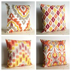 Orange and Gold Ikat Pillow Cover 16 x 16 Ikat Cushion Cover - Ikat Tribal Spice. $14.50, via Etsy.