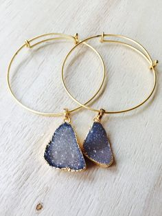 Druzy Gold Wire Stone bangles by TalismanbyANYA on Etsy