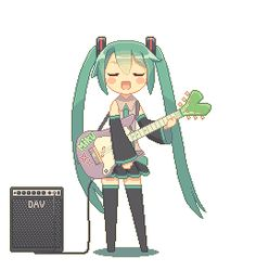 ((ADOPTED Miku loves to rock out. Music is her life, and she plays every second she gets.))