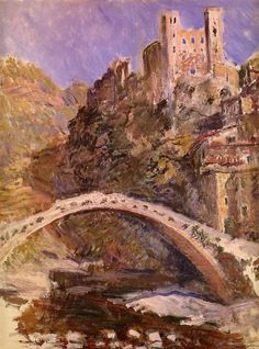 The Castle of Dolceacqua by Claude Monet in oil on canvas, done in Now in The Musée Marmottan. Find a fine art print of this Claude Monet painting. Camille Pissarro, Claude Monet, Pierre Auguste Renoir, Manet, Monet Paintings, Landscape Paintings, Artist Monet, Impressionist Paintings, Wassily Kandinsky