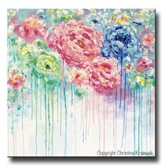 """Blooming Bliss"" 36x36"" Original #Art Large Abstract Painting Flowers #Painting, modern textured impasto palette knife UNIQUE effect colorful floral fine art- Pantone 2016 Serenity Rose Quartz blue white pink home wall decor. Mixed media acrylic painting on XL 36x36x1.5"" gallery wrapped canvas. Hand-painted, one-of-a-kind gallery fine art. ~ By Artist, Christine Krainock"