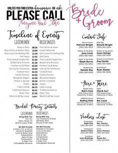 Editable Wedding Timeline – Call Anyone but the Bride and Groom! – Edit in Word – Phone numbers and timeline – Day of Wedding Schedule Editable Wedding Timeline Call Anyone but the Bride and Budget Wedding, Wedding Tips, Wedding Events, Wedding Ceremony, Wedding Hacks, Wedding Details, Wedding Table, Wedding Blog, Wedding Sparklers