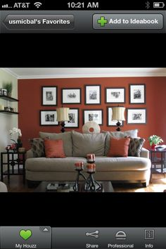 Casual red accent wall cluster