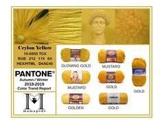 Ceylon Yellow - Pantone Color Trend Report Autumn Winter 2018 2019 Fashion trend analysis and yarn matching by mamapode Tight Crochet Big Fashion, Autumn Fashion, Fashion Trends, Fashion 2018, Yellow Pantone, Pantone Color, Mango Mojito, Pink Peacock, Trend Analysis