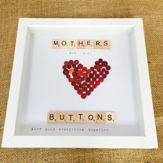 mothers are like buttons, they hold everything together, scrabble frame, Mother's Day gift, mum birthday present, gift for her by DitsydooShop on Etsy https://www.etsy.com/uk/listing/519848287/mothers-are-like-buttons-they-hold