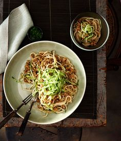 Australian Gourmet Traveller Chinese recipe for minced pork tossed noodles (Zhajiang mian) by Tony Tan