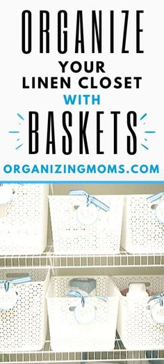 Ideas and tips for using baskets for linen closet organization. Group like items and eliminate visual clutter with this simple organizing solution. Check out these tips for organizing your bathroom items and linens with baskets. Under Sink Organization, Linen Closet Organization, Clutter Organization, Paper Organization, Bathroom Organization, Organizing Ideas, Bath Storage, Linen Storage, Kid Closet
