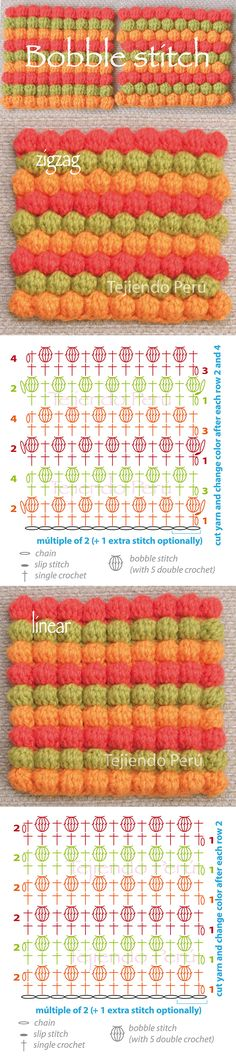 Crochet bobble stitch pattern: zigzag and linear! (Diagrams or charts)