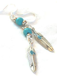 Turquoise Feather Earring, silver tribal earrings dangle drop earrings long native american jewelry turquoise earrings boho jewelry by FunNFiber on Etsy